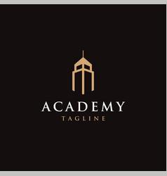 Abstract cityscape building academy logo icon vector