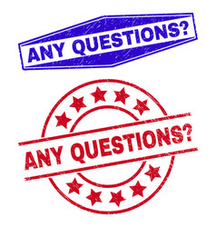 Any questions question corroded stamp seals vector