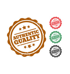 Authentic quality rubber stamps set four vector