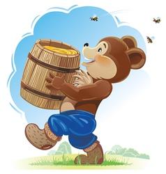 Bear cub and honey vector