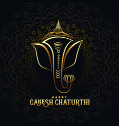 Beautiful golden ganpati card for happy ganesh vector