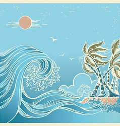 Big waves blue seascape vector image