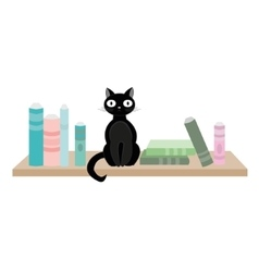 Black cat and books vector image vector image