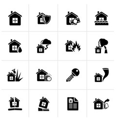Black home risk and insurance icons vector