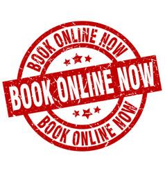 book online now round red grunge stamp vector image