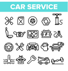 car service linear icons set thin pictogram vector image