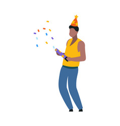 cartoon dancing man with party hat festival with vector image