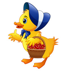 cartoon little duck carrying flowers in a basket w vector image
