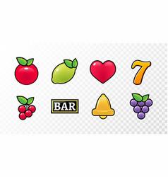Casino slot machine icon symbol fruit vector