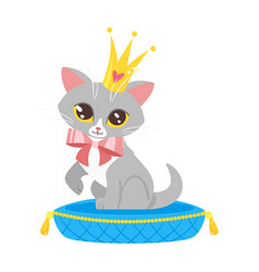 Cat character in golden crown vector