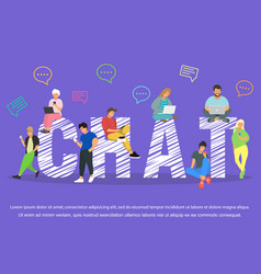 chat young people using mobile vector image