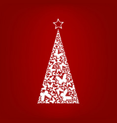 christmas tree from white butterfly with star vector image