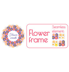 circle spring wreath of gerberas and daisies plus vector image