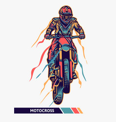 Colorful artwork motocross jump with motion vector