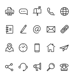 Contact us business communication line icon set vector