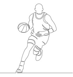 continuous line drawing of basketball player vector image
