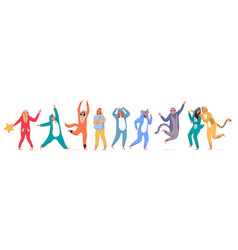 costume party happy people wearing animal costume vector image