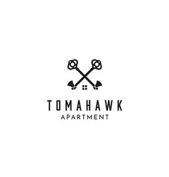 Crossed skeleton key tomahawk axes house roof logo vector