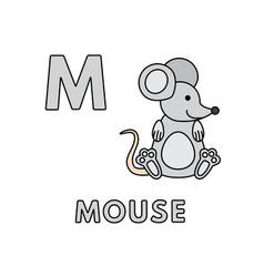 cute cartoon animals alphabet mouse vector image