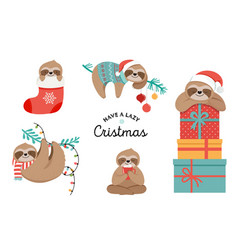 cute sloths funny christmas vector image
