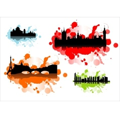 detailed silhouettes world cities vector image