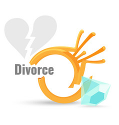 Divorce concept with broken vector