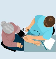 doctor measures pressure vector image