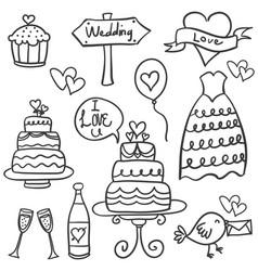 doodle of wedding element hand draw vector image