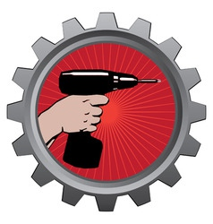 drill in badge vector illustration eps 10 vector image vector image