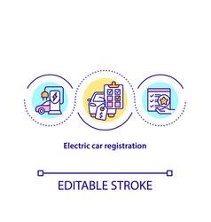 Electric car registration concept icon vector