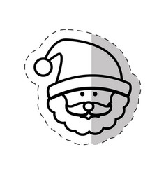 face santa claus cut line vector image