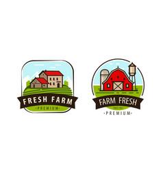 Farm fresh logo or label agriculture farming vector