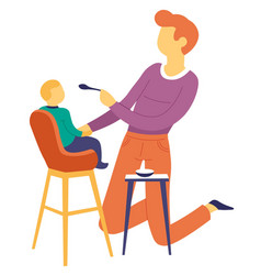 Father feeding son child on high chair fatherhood vector