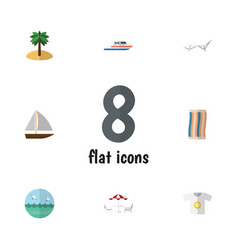 Flat icon beach set of coconut deck chair vector