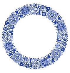 Folk art floral werteth ornamental round vector