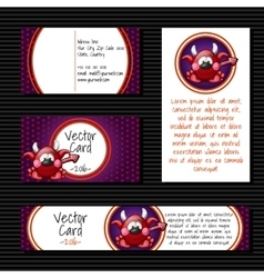 Four cards with little devil vector