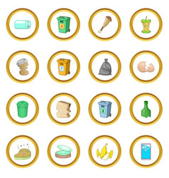 Garbage items icons circle vector