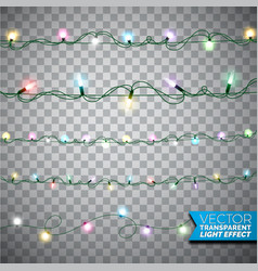 Glowing christmas lights realistic isolated design vector