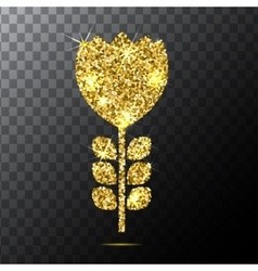 gold glitter isolated flower on a vector image