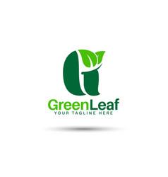 Green leaf g latter logo design vector