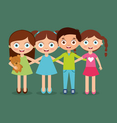 group kids embrace happy smiling boys and girl vector image