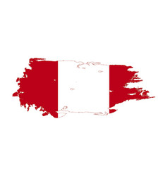 grunge brush stroke with peru national flag vector image