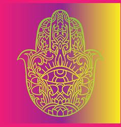 Hamsa symbol fatima hand pattern indian mandala vector