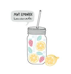 hand drawn glass jar with lemonade made lemon vector image