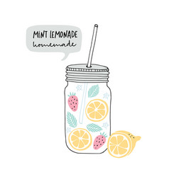 hand drawn glass jar with lemonade made of lemon vector image
