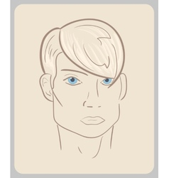 Handdrawn man face with blue eyes and blond hair vector
