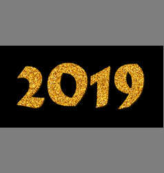 Happy new year card bright gold number 2019 with vector
