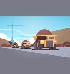 heavy yellow dumper trucks professional equipment vector image