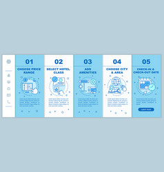 Hotel room booking onboarding mobile web pages vector