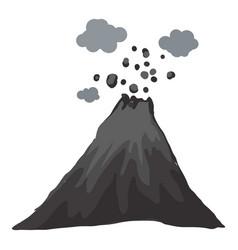 Island eruption volcano icon cartoon style vector